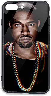 Kanye West Apple iPhone 8 Plus Case iPhone 7 Plus Case Case,Tempered Glass Case with Soft Silicone TPU Frame