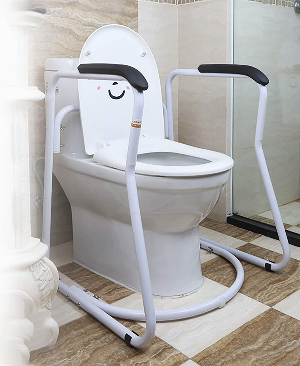 Free-Standing Toilet Frame, trapezoidal Adjustable Toilet Surround, Standard Independent Safety aid for The Elderly Disabled, Suitable for Most Toilets,PUhandrail