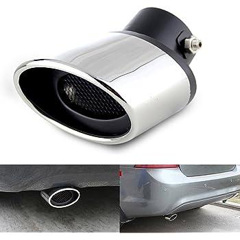 Coche universal de acero inoxidable de doble tubo de escape de cola silenciador del coche Ronda boca Doble-Tubo Tubo de cola curvada Tipo Tubo Doble