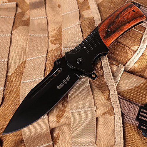 Pocket Knife Spring Assisted Folding Knives - Military EDC USMC Tactical Jack Knifes - Best Camping Hunting Fishing Hiking Survival Knofe - Travel Accessories Gear - Boy Scout Knife Gifts for Men 0207