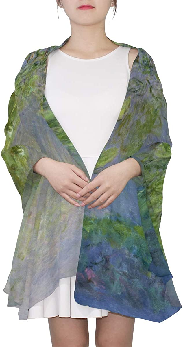 AHOMY Fashion Scarf for Women Water Lilies By Claude Monet Oil Paintings Flowers Evening Shawl Wrap Scarf for Wedding Party Dress