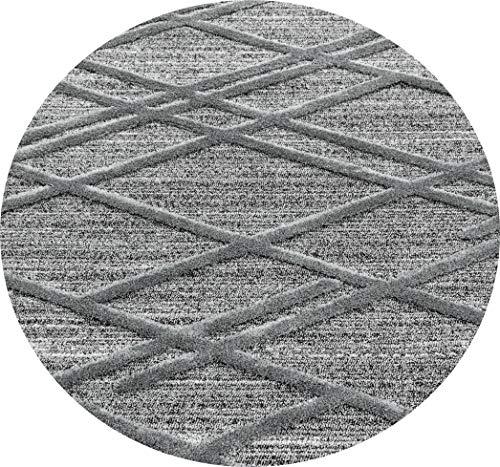Ayyildiz Wunderschöne Runde Rauten Modern Designer Teppich, Hochflor Teppich rechteckig dichter Flor, Höhe 20 mm, Schadstoffgeprüft Öko Tex Standard 100, Größe:Ø 120 cm Rund, Farbe:Grau