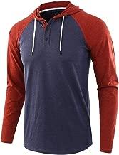 Men Long Sleeve Shirt Tops Lightweight Button Drawsting Patchwork Hoodie Blouse Beautyfine