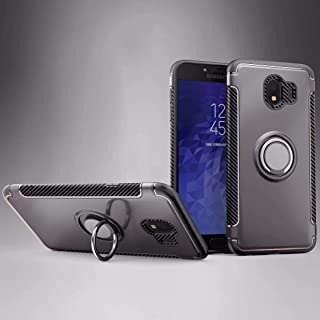 Protective Case Compatible with Samsung 2 in 1 Protection Case with 360 Degree Rotating Finger Ring Holder and Magnet Car Holder Case Compatible Samsung Galaxy J4 Phone case (Color : Gray)