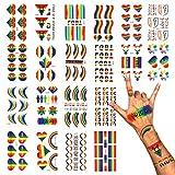 """DISEÑOS VARIOS: 20 diseños de moda satisfacen diferentes necesidades. Incluye letras de """"PRIDE"""", """"LGBT"""", """"LOVE IS LOVE"""", forma de arco iris, forma de corazón, forma de sonrisa, forma de flor, etc. BRILLANTE Y ESTABLE: El color de los tatuajes tempora..."""