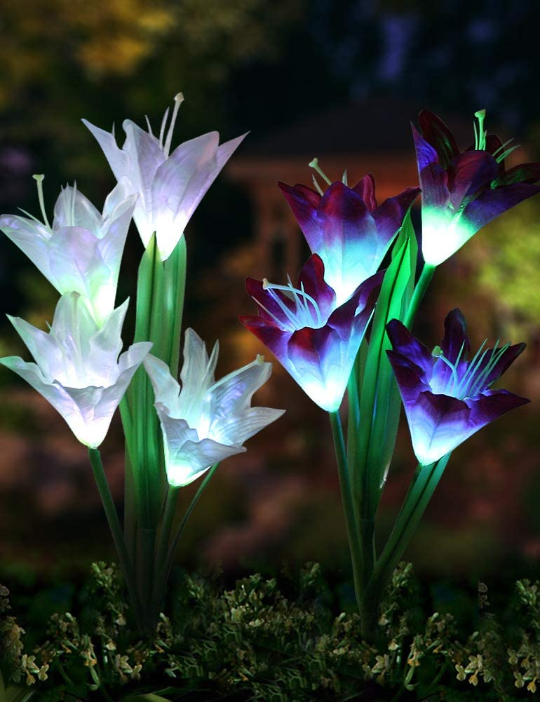 Bright Zeal 2 Max 82% OFF Bundle 8 Lily Stak LED Garden Max 76% OFF Outdoor Flower Solar