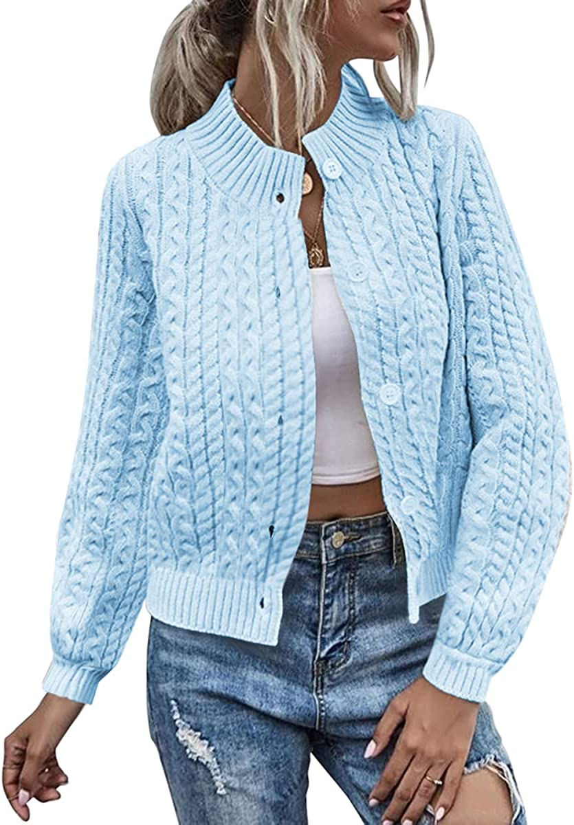 Womens Winter Stand Collar Sweater Cable Knit Cardigan Long Sleeve Sweater Coats