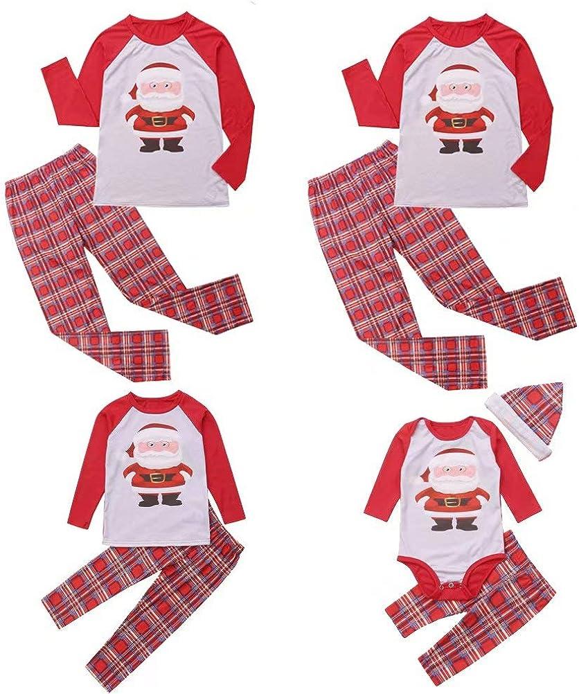 Family Matching Christmas Pajamas Set Santa Claus Plaid Long Sleeve Shirt Tops Pants Sleepwear Nightwear