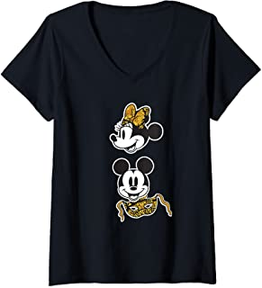 Femme Disney Mickey and Minnie Mouse Carnevale di Venezia T-Shirt avec Col en V