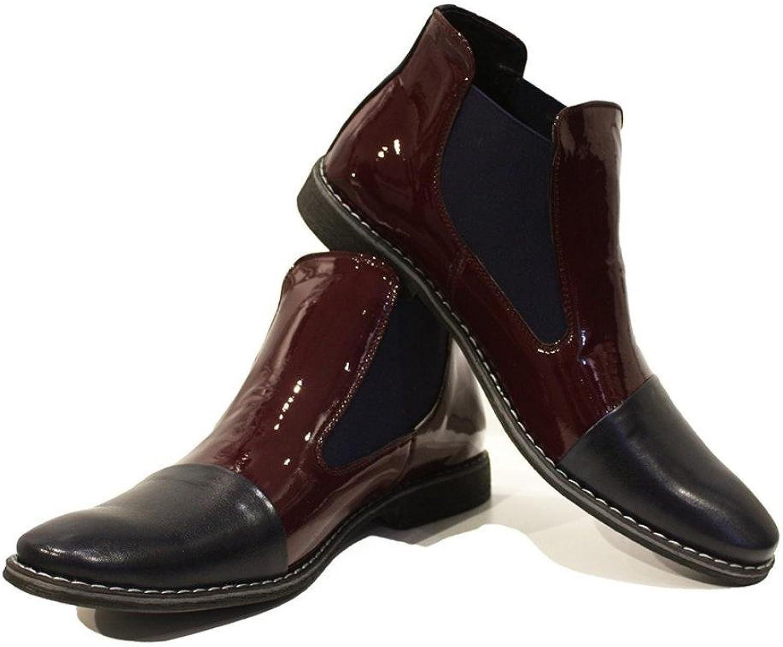 Peppeskor Modello Biscotto - Handtillverkade italienska läder Mens Mens Mens Färg Burgundy Ankle Chelsea Boots - Cowhide Patent Leather - Slip -On  grossist billig