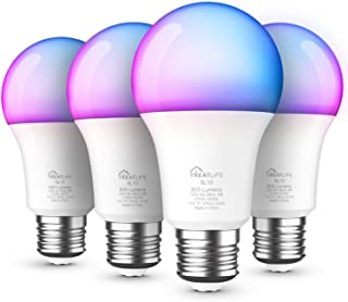 لامپ هوشمند 4 بسته ، لامپ تغییر رنگ چند منظوره قابل تنظیم و لامپ LED سفید ، با الکسا ، دستیار Google ، A19 E26 9W (معادل 60 وات) 800 لومن کار می کند ، بدون توپی لازم است