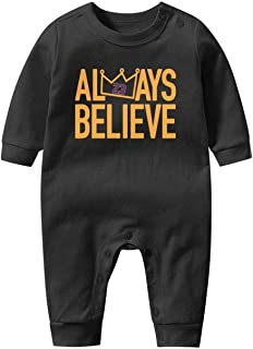 Unisex Baby Cotton Long-Sleeve Bodysuits 23-LABron-Player- One-Piece Coverall for 0-12 Month