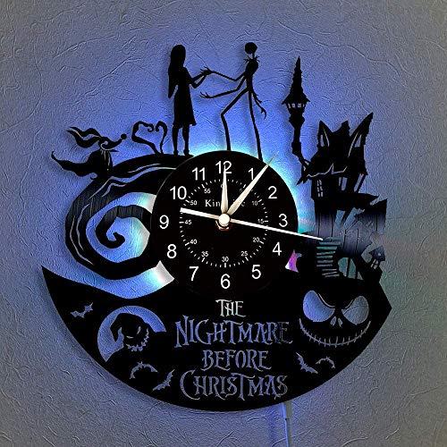 JLJL The Nightmare Before Christmas Vinyl Record Wall Clock LED Light 12' Vinyl CD Quartz Clock | Handmade Interior Home Decor | Creative Hanging Lamp 7 Color Luminous Wall Clock (Glow)