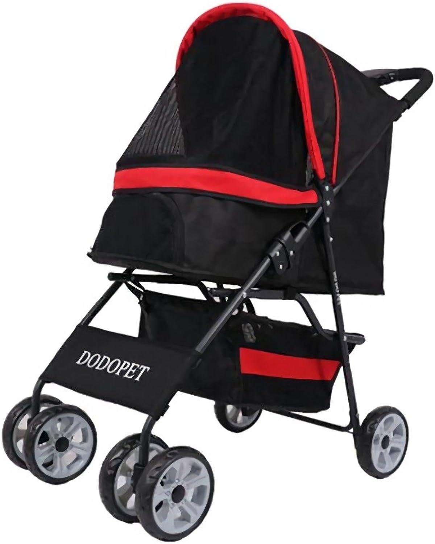 Haol Pet Stroller Dog Puppy Cat Pet Travel Stroller Pushchair Pram Jogger Swivel Wheels Lightweight Stainless Frame
