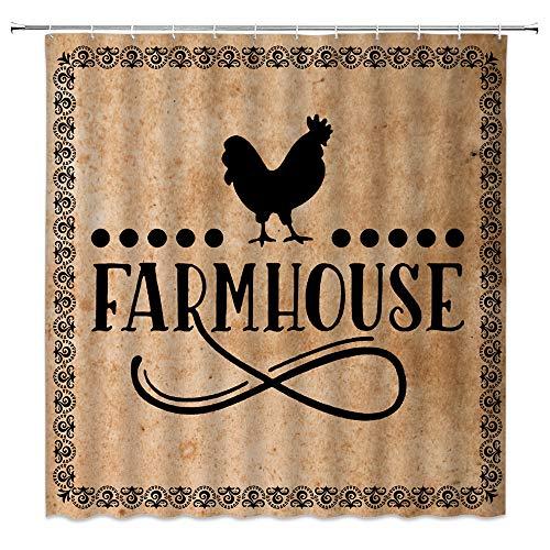 BSTDS Farmhouse Duschvorhang mit Hühner-Motiv, Landhausstil, mit Zitat von Miller, anthrazit, Geflügelhütte, Westernstil, rustikal, Vintage-Stil, 178 x 178 cm mit Haken