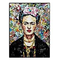 フリーダカーロ自画像の壁の装飾アートプリントポスター、キャンバスHDプリントのグラフィティアート絵画画像、リビングルームのキッチンの寝室の家の装飾のためのフレームレスの絵画,40x50cm