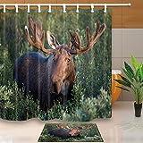 Nature Scenery Decor Elch steht auf Grün Grassland 180x 180cm Polyester-Schimmelresistent-Duschvorhang Anzug mit 60x 40cm Flanell rutschfeste Boden Fußmatte Bad Teppiche