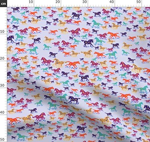 Pferd, Jugendlich, Spaß, Tiere, Pony Stoffe - Individuell Bedruckt von Spoonflower - Design von Scifiwritir Gedruckt auf Samt