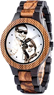 Mens Personalized Engraved Wooden Watches Quartz Casual Wristwatches for Men Family Friends Customized Gift