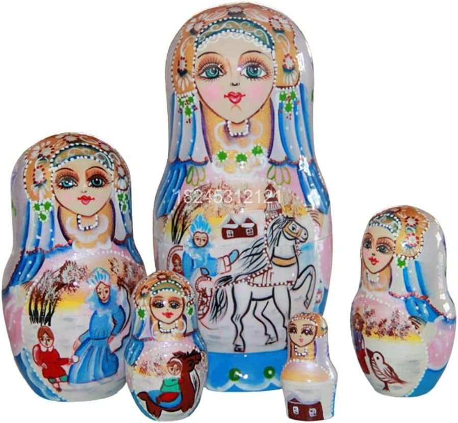 MQH Russian Nesting Dolls Hand Stacking Painted Albuquerque Mall Max 85% OFF 5 Matryoshka Pcs