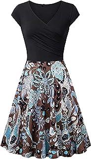 YMING Damen Kurzarm Partykleider Elegant Knielang Kleid V-Ausschnitt Kleider XS-3XL