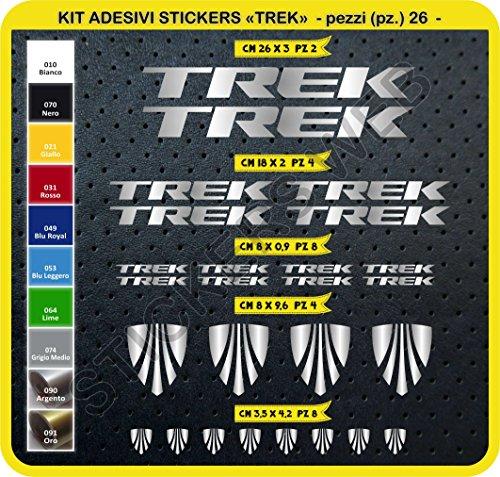 Adesivi Bici Trek Kit Adesivi Stickers 26 Pezzi -Scegli SUBITO Colore- Bike Cycle pegatina cod.0115 (Argento cod. 090)