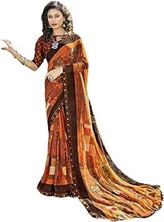 بلوزة ساري نسائية من تصميم Brown Designer Womens Party Wear Georgette مطبوعة هندية تقليدية فانسي بوليوود تصميم 6055