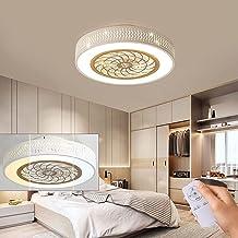 Moderne led-plafondventilator met verlichting, dimbaar, 36 W, ventilatorplafondlamp, ultrastil, onzichtbare wind/lichtbro...