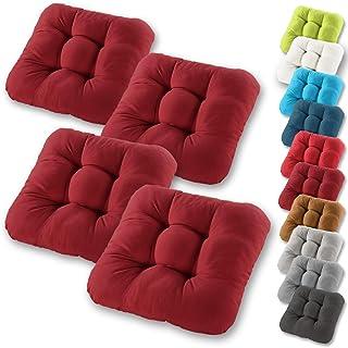 comprar comparacion Gräfenstayn® Set de 4 Cojines de Asiento cojín de Silla 38x38x8cm para Interior y Exterior - Funda de algodón 100% - Mucho...