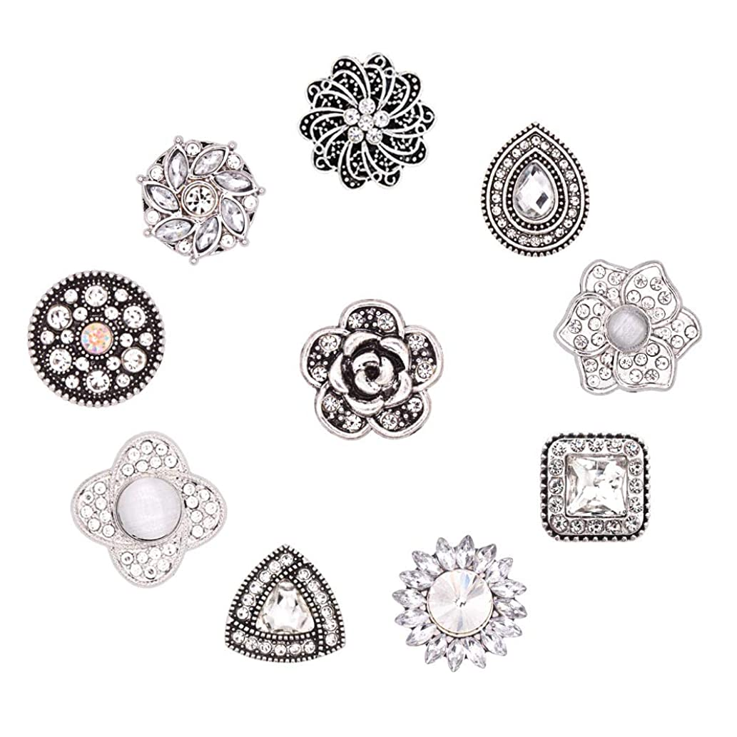 HEYGOO 18mm Mixed Bling Rhinestone Snap Buttons Jewelry Charms, Pack of 10 (White)