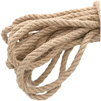 KINGLAKE 15 m Jute Rope Cord Thick Garden Twine 10mm Hemp Rope Thick Jute String For Wrapping Gardening Bundling Home Decoration