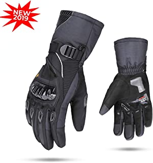 Motorcycle Winter Gloves, kemimoto Waterproof Motorcycle Riding Gloves for Men Women Touchscreen Winter Glove for Skiing Cycling Outdoor - Black, Medium