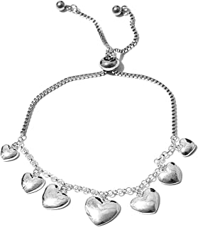 925 Sterling Silver and Stainless Steel Heart Charms Bolo Bracelet for Women Jewelry Gift Adjustable