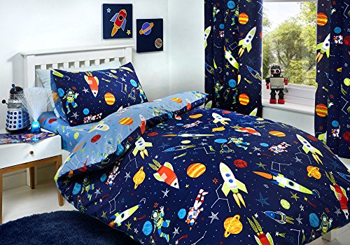 Bedlam - Supersonic - Glow In The Dark Duvet Cover Set | Double Bed Size | Blue Bedding