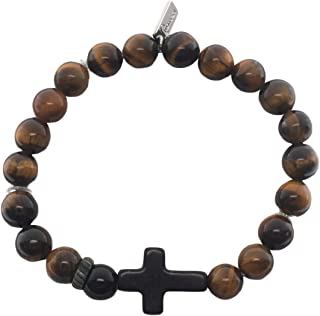 Roman Boys Cross Natural Brown 7 inch Stretch Cord and Beads Confirmation Bracelet
