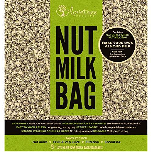 Productos Love Tree Algodón orgánico. Bolsa para leche de nueces - El mejor colador orgánico de leche de almendras con calidad premium que incluye un E book de recetas gratuito - Bolsa de malla de algodón, grande, alimentos de calidad, reusable y fuerte de algodón - Leches de nueces y jugos suaves siempre con garantía sin riesgo de 100% devolución de su dinero. Medidas 10x12 pulgadas.