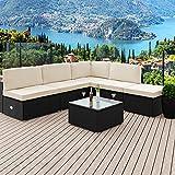 Deuba Poly Rattan Lounge Set XXL I 7cm Dicke Auflagen I Tisch Sicherheitsglas I Schwarz Sitzgruppe Garten Gartenmöbel