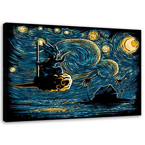 Feeby Starry Island Goku Anime vom DDJVIGO Leinwandbild - 40x60 cm - blau gelb schwarz