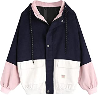 Moonuy,Damen Long Sleeve Hoodies, Damen Cord Patchwork Oversize Zipper Jacke Windbreaker Crop Mantel Lässige Mantel für Party, Beach Damen Mädchen Sweatshirt
