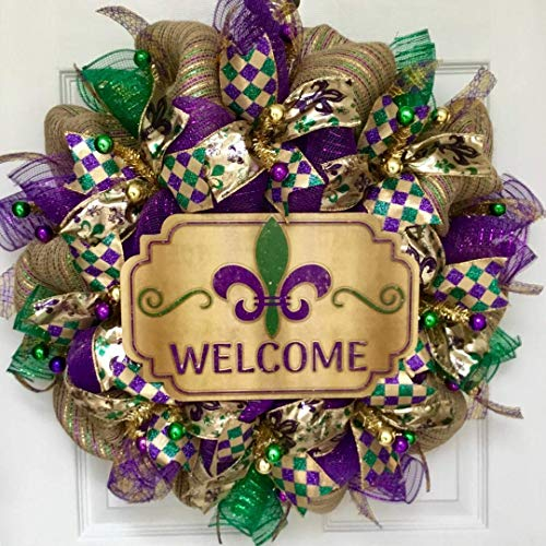 Fleur de Lis Welcome Wreath Mardi Gras Or All Occasion Handmade Deco Mesh