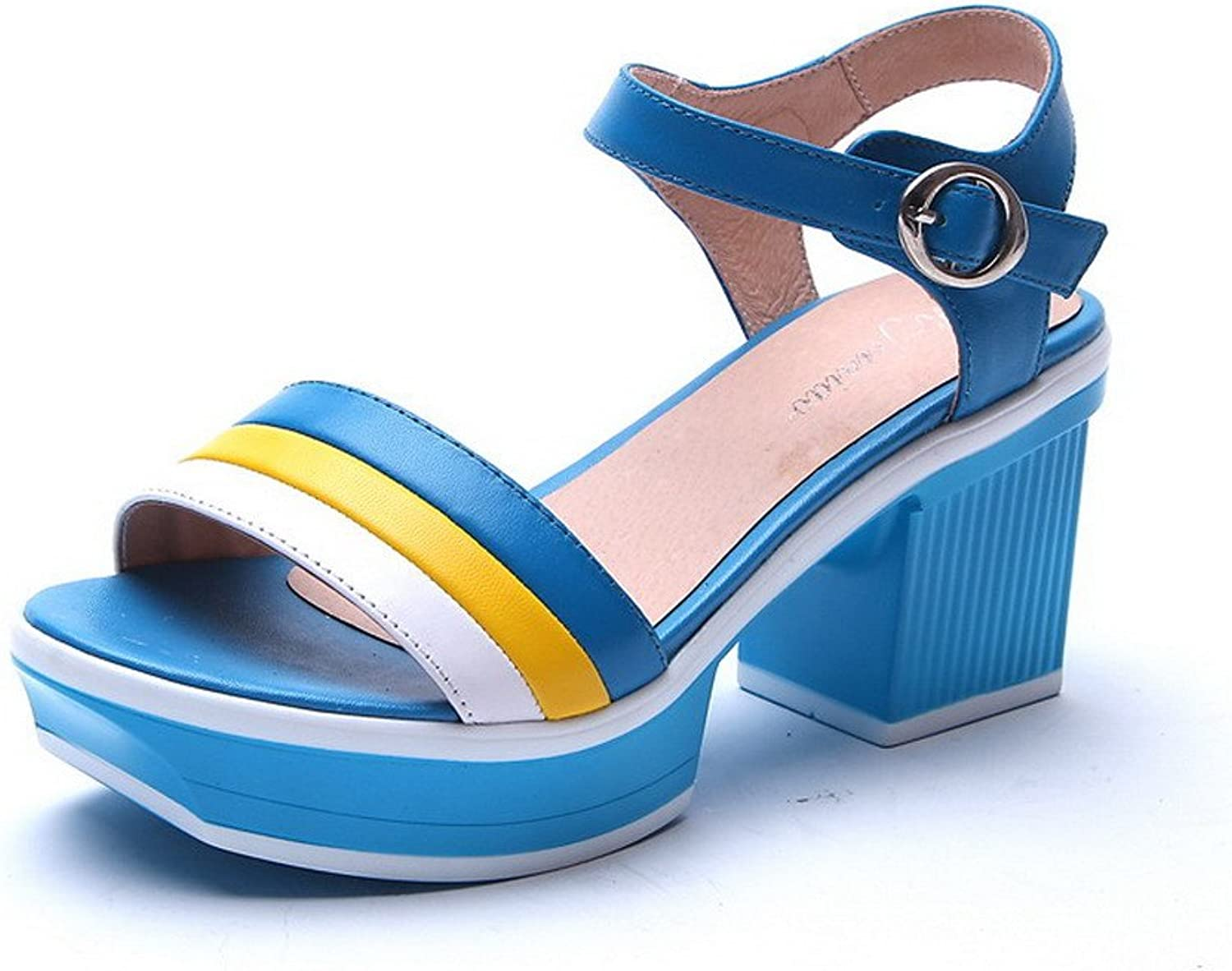 WeiPoot Women Open Toe High Heels Cow Leather Soft Material Assorted colors Sandals, bluee, 7.5 B(M) US