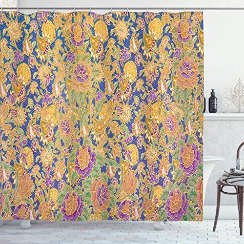 ABAKUHAUS asiatisch Duschvorhang, Grafische indonesische Batik, mit 12 Ringe Set Wasserdicht Stielvoll Modern Farbfest & Schimmel Resistent, 175x180 cm, Mehrfarbig
