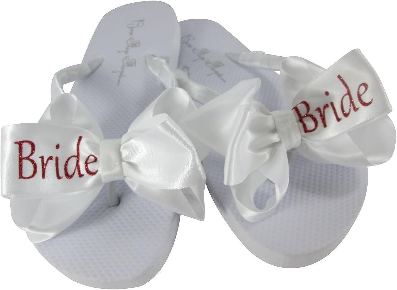 Bow Flip Flops White Flat Bride Glitter Satin