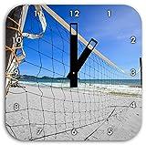 Stil.Zeit Großes Volleyballnetz schwarz/weiß, Wanduhr Quadratisch Durchmesser 28cm mit schwarzen eckigen Zeigern und Ziffernblatt