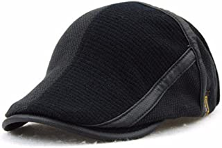 men knitted beret cap adjustable buckle newsboy cabbie hat