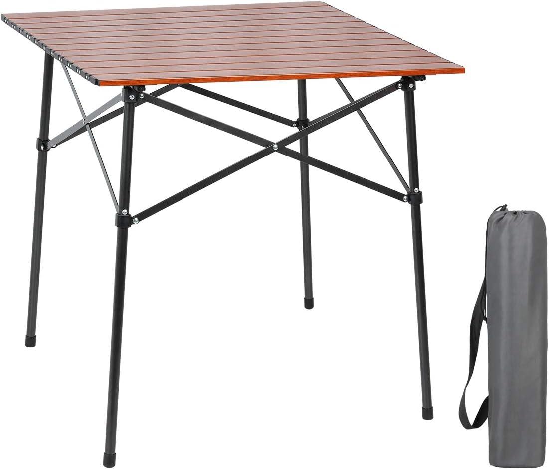 PORTAL 軽量アルミ折りたたみスクエアテーブル ロールアップトップ