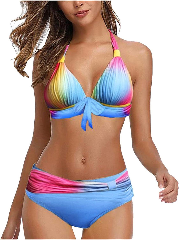 MaxDelic Swimsuit for Women, Women Plus Size Print Tankini Swimjupmsuit Swimsuit Beachwear Padded Swimwear