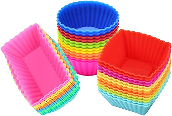 Silicone Cupcake Muffin Baking Cups Liners 36 Pack Reusable Non Stick Cake Molds Sets