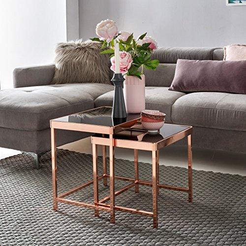 KADIMA DESIGN Ensemble de Conception de 2 Tables gigognes Table Basse en Verre de métal Noir/cuivre | Miroir Table d'appoint Table Basse Moderne | Table carrée en Verre