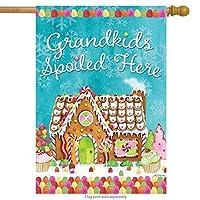 "Briarwood Lane Grandkids Spoiled Here House Flag Gingerbread House Christmas 28"" x 40"" [並行輸入品]"